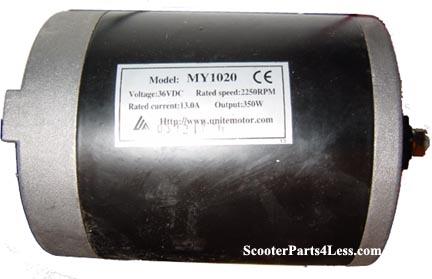 Electric Scooter Motors, 24-36 Volt DC, 100-800 Watts, Belt or